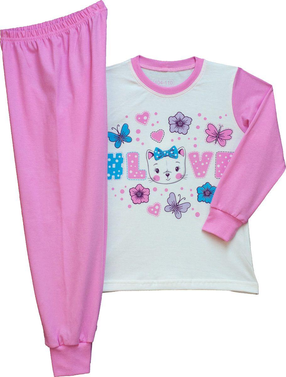 Lány hosszú ujjú pizsama (cicás) /TPCIC21014/